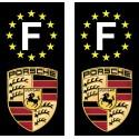 2 Stickers autocollant plaque d'immatriculation noir Porsche