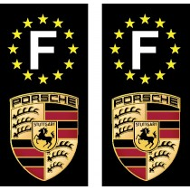2 Stickers autocollant plaque d'immatriculation noir Porsche