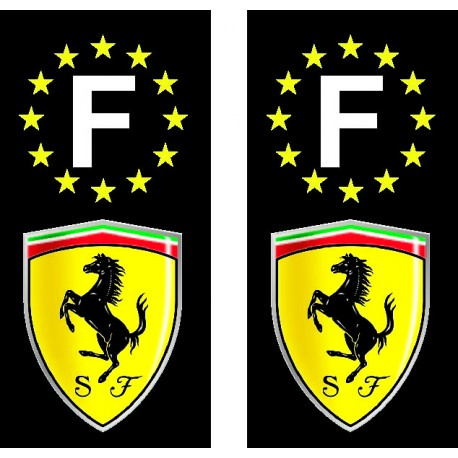 2 Stickers autocollant plaque d'immatriculation noir Ferrari