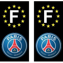 2 Stickers autocollant plaque d'immatriculation noir PSG
