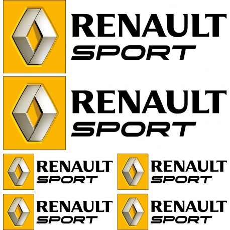 6 stickers autocollants logo renault sport noir art d co stickers. Black Bedroom Furniture Sets. Home Design Ideas