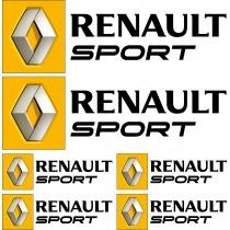 6 Stickers autocollants logo Renault sport Noir