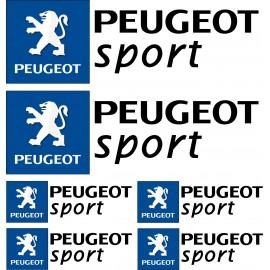 6 Stickers autocollants logo Peugeot sport Noir