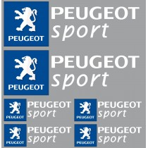 6 Stickers autocollants logo Peugeot sport blanc