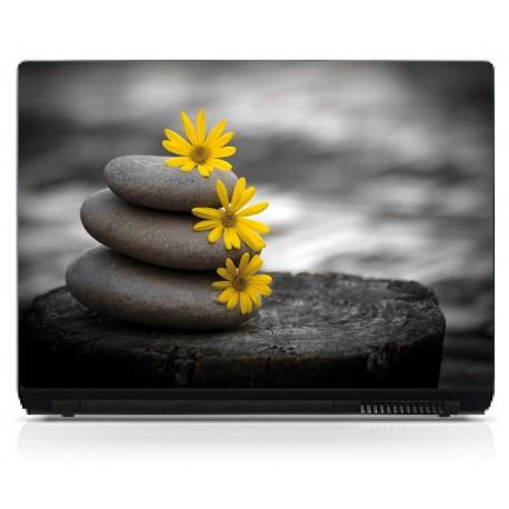 Sticker pc portable Fleurs galet