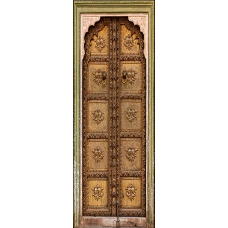 sticker vielle porte orientale trompe l 39 oeil art d co stickers. Black Bedroom Furniture Sets. Home Design Ideas