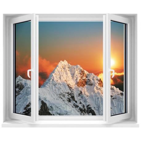 Sticker trompe l'oeil fenêtre Les Alpes
