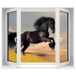 Sticker trompe l'oeil fenêtre Cheval