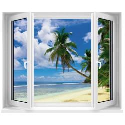 Sticker trompe l'oeil fenêtre Palmier