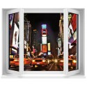Sticker trompe l'oeil fenêtre New York Taxi