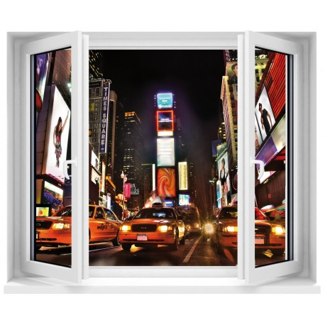 Sticker trompe l 39 oeil fen tre new york taxi art d co for Stickers fenetre new york