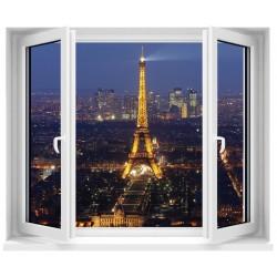 Sticker trompe l'oeil fenêtre Paris Tour Eiffel
