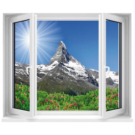 Sticker trompe l'oeil fenêtre Vue sur les Alpes