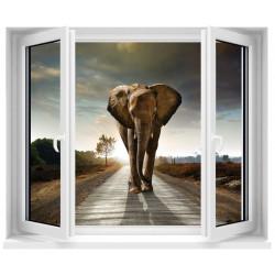 Sticker trompe l'oeil fenêtre Eléphant