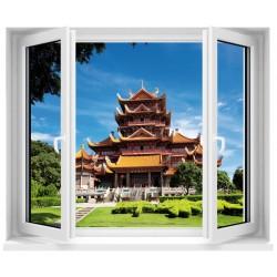 Sticker déco trompe l'oeil fenêtre Temple Chinois