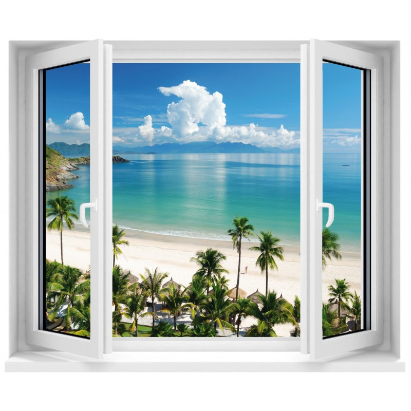Stickers fen tre trompe l 39 oeil plage art d co stickers - Tableau trompe l oeil fenetre ...