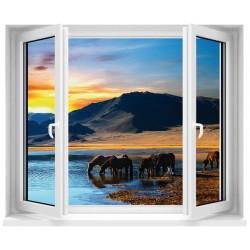 Sticker fenêtre déco trompe l'oeil Chevaux