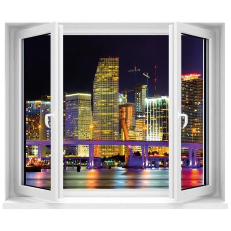 Sticker fenêtre trompe l'oeil City Night