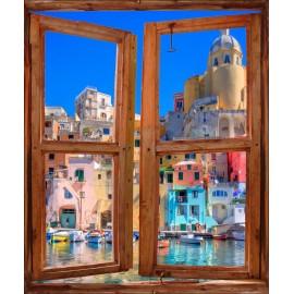 Stickers fenêtre trompe l'oeil Vue sur Port