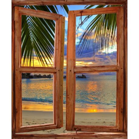 Sticker Fenêtre trompe l'oeil Plage Couché de Soleil