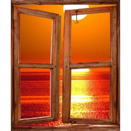 Sticker Fenêtre trompe l'oeil Couché de soleil