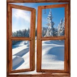 Sticker Fenêtre trompe l'oeil paysage Les Alpes
