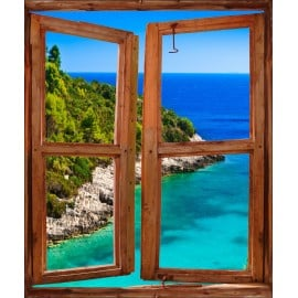 Sticker Fenêtre trompe l'oeil paysage Calanques