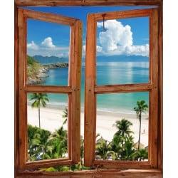 Sticker Fenêtre trompe l'oeil paysage Beach
