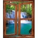 Sticker trompe l'oeil fenêtre déco paysage Cascade