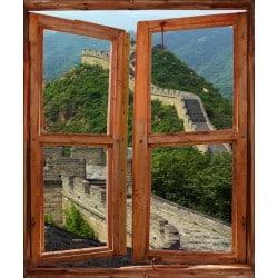Sticker trompe l'oeil fenêtre déco Murail de Chine