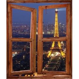 Sticker trompe l'oeil fenêtre déco Tour Eiffel