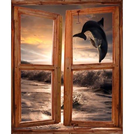 Sticker trompe l'oeil fenêtre déco Dauphin