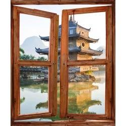 Sticker trompe l'oeil fenêtre déco Temple