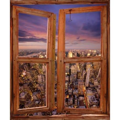 Sticker trompe l'oeil fenêtre déco New York