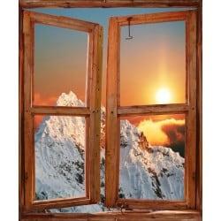 Sticker trompe l'oeil fenêtre déco Montagne