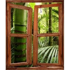 Stickers fenêtre trompe l'oeil déco Forêt Tropicale