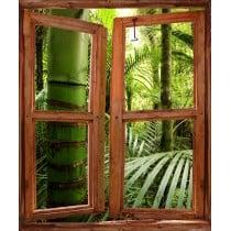 Sticker trompe l'oeil fenêtre déco Forêt Tropicale