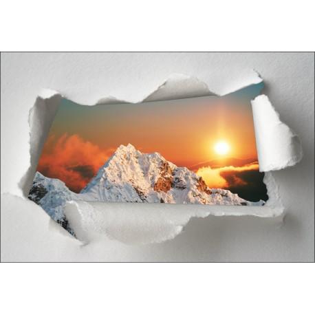 Sticker Trompe l'oeil Montagne couché de soleil