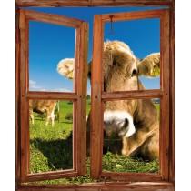 Sticker fenêtre trompe l'oeil déco Vache