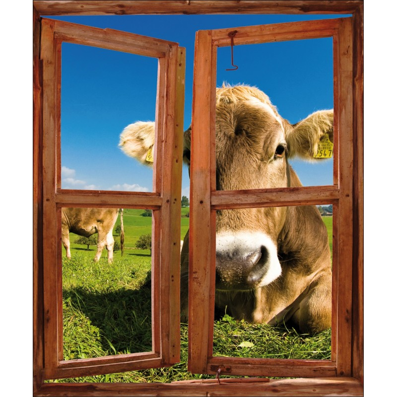 Sticker fen tre trompe l 39 oeil d co vache art d co stickers for Fenetre trompe l oeil