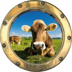 Sticker hublot trompe l'oeil Vache