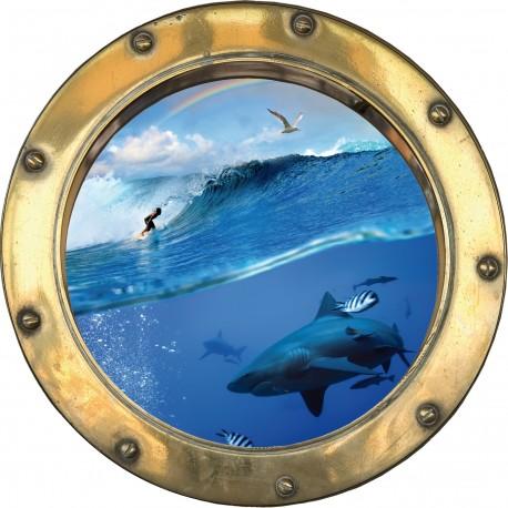 Sticker hublot trompe l'oeil Requin et Surfeur