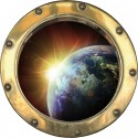 Sticker hublot trompe l'oeil Planète