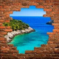 Sticker mural trompe l'oeil vue sur mer