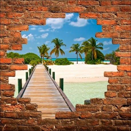 Sticker mural trompe l'oeil Ile