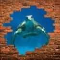 Sticker mural trompe l'oeil Tortue
