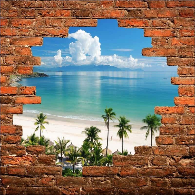 Sticker mural trompe l 39 oeil plage art d co stickers - Sticker trompe l oeil mural ...