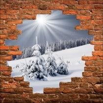 Sticker mural trompe l'oeil Montagne enneigée