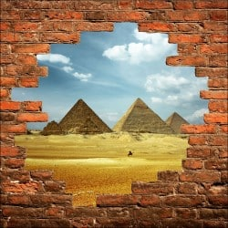 Sticker mural trompe l'oeil Pyramides