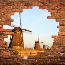 Sticker mural trompe l'oeil Moulins a vent